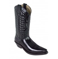 Black glazed leather cowboy boots for men