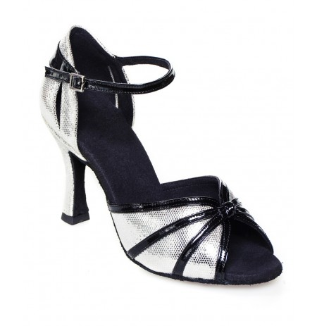 Silver leather and black varnish ballroom dancing shoes