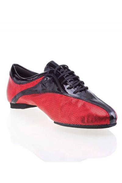 Chaussures danse homme cuir rouge et noir