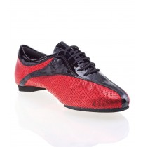 Black and red leather dancing shoes for men