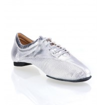 Silver leather dancing shoes for men