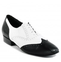 Black and white leather derby dancing shoes for men