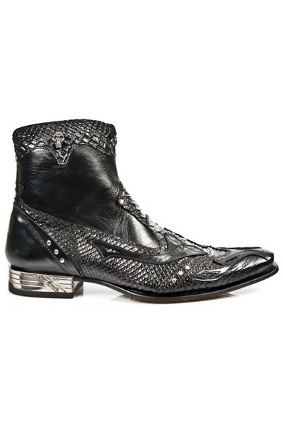 Black leather punk ankle boots for men ROCK SNAKESKIN LOW CUT BOOTS ... 3a1b4c2721e0
