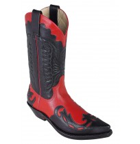 Black and red Mexican cowboy boots made of leather