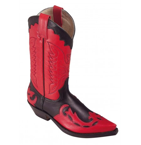 Black and red leather Mexican cowboy boots