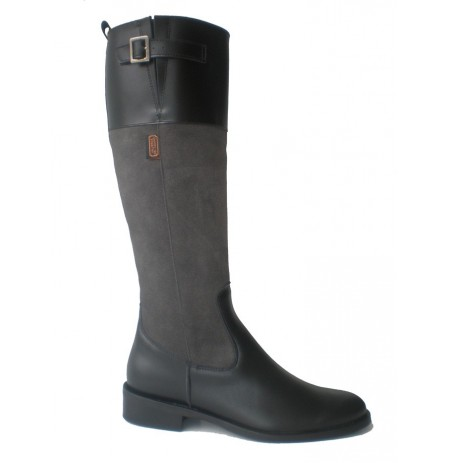 Grey and black leather riding boots