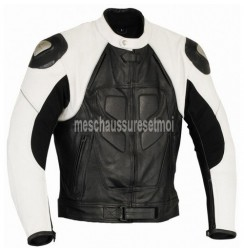 Black and white leather pro biker jacket