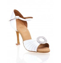 White satin bride shoes with jewels and rhinestones