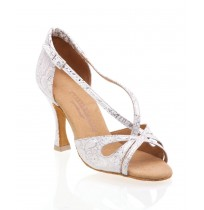Trendy white and silver leather bridal shoes