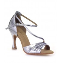 Elegant silver leather bridal shoes