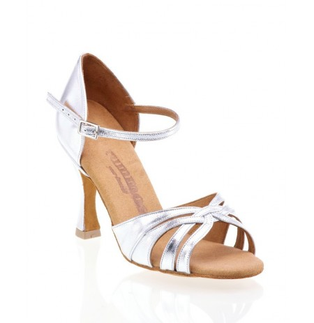 Comfortable silver leather bridal shoes with straps