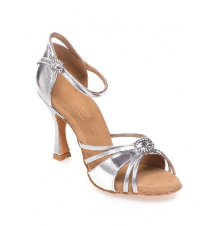 Open Toe Silver Leather Bridal Heels Sandal Style Silver