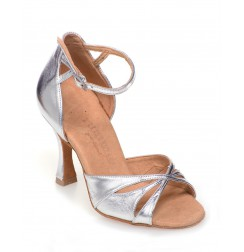 High quality silver leather wedding heels
