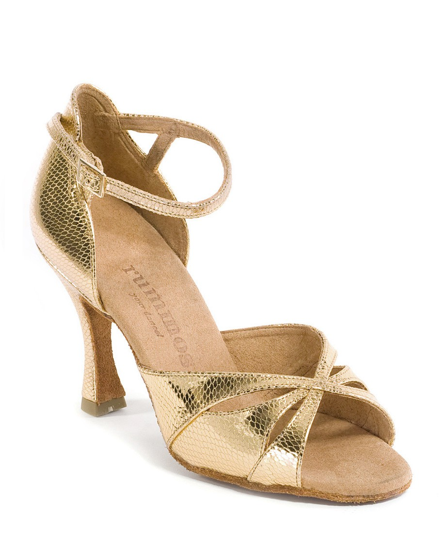 LADIES GOLD LEATHER EVENING SHOES Gold