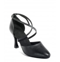 Classic chic black leather dancing shoes