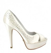 Off-white satin bride shoes with rhinestones
