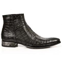 Santiags homme cuir et serpent noir talon acier
