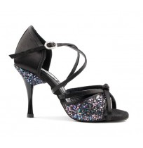 Sequined black dancing shoes