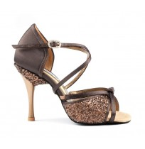 Sequined brown dancing shoes