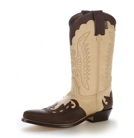 Beige and brown leather country cowboy boots