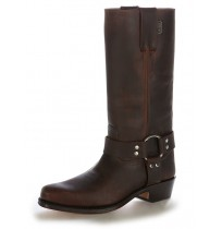Brown leather western boots with straps
