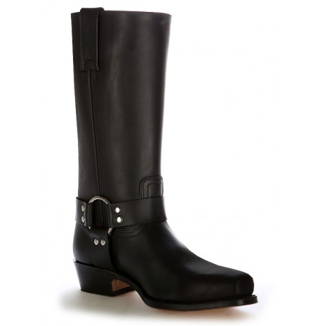 Black leather western boots with round buckle
