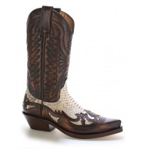 Real natural snake and brown leather cowboy boots