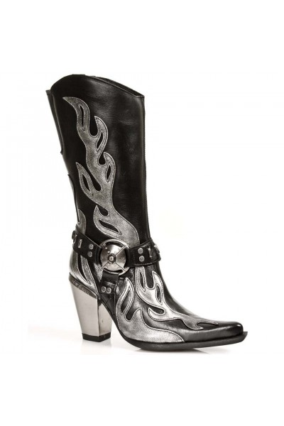Black with silver boots leather women cowboy for flames fg76by