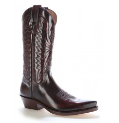 Burgundy glazed leather mexican cowboy boots