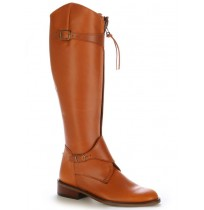 Natural leather boots with bridles
