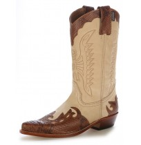 Two-coloured leather and snake cowboy boots