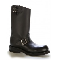 Leather bike boots with padded tips and bridles