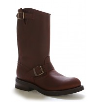 Brown leather bike boots with bridles