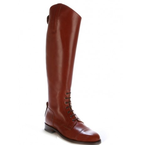 Copper brown leather riding boots with bootlaces