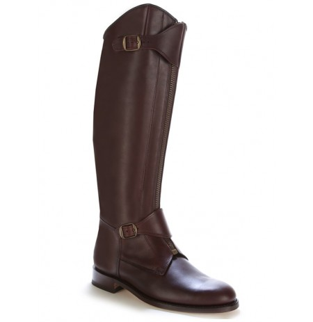 Brown leather riding boots with bridles