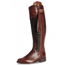 Crocodile and burgundy leather riding boots