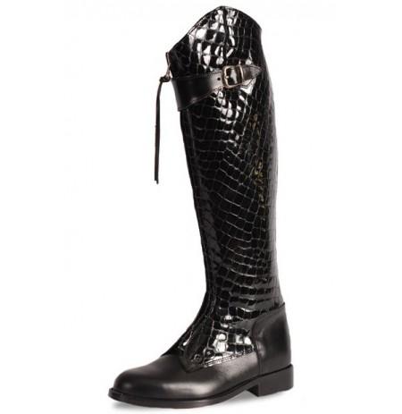 Elegant black and crocodile leather riding boots