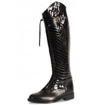 Elegant black and crocodile leather riding boots
