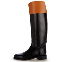 Made to measure two-coloured leather riding boots