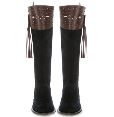 Elegant brown and navy blue leather riding boots