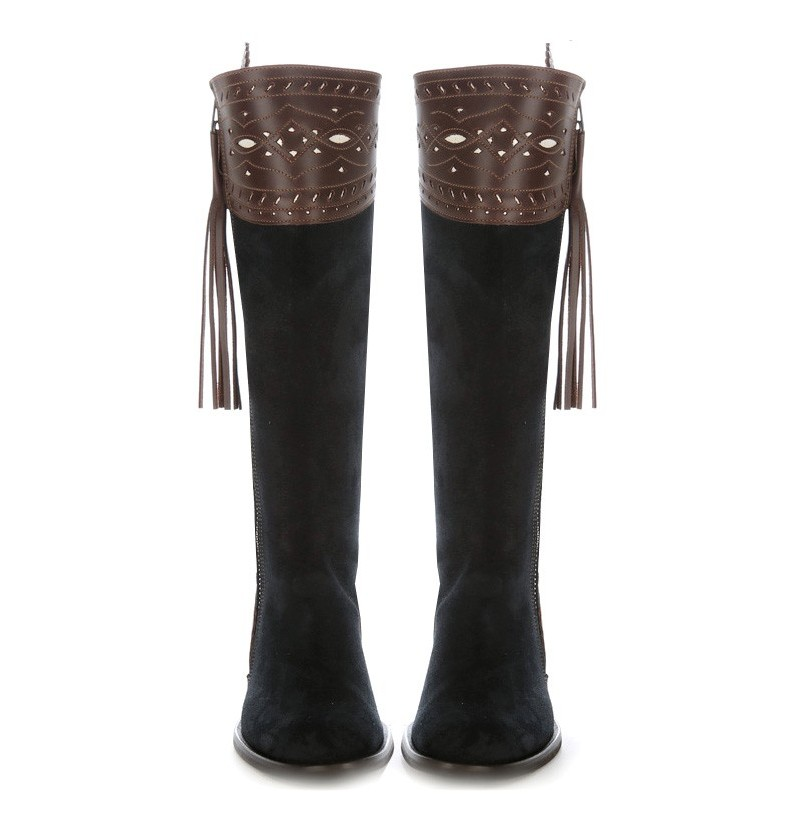 Navy blue and brown riding boots Navy