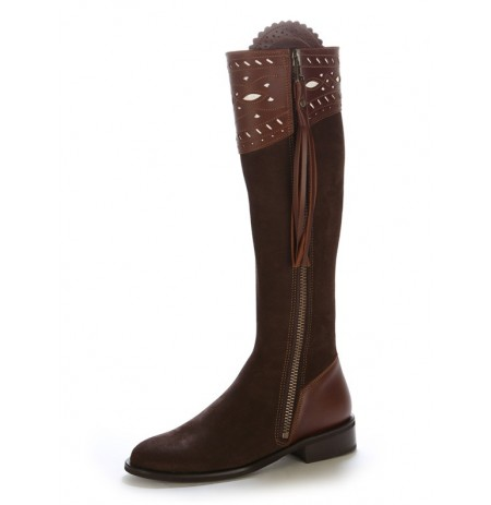 Elegant made to measure brown suede leather riding boots style