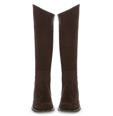 Custom-made brown suede leather riding boots