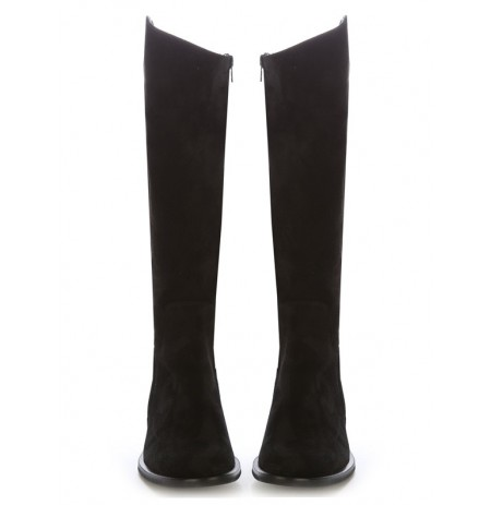 Custom-made black suede leather riding boots