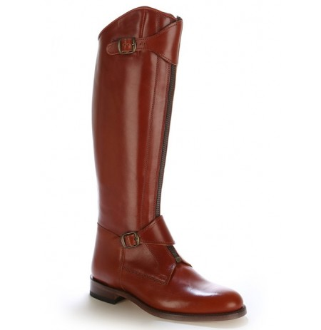 Custom-made copper brown leather riding/polo boots