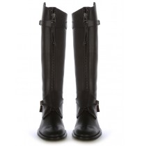 Black leather boots with bridles