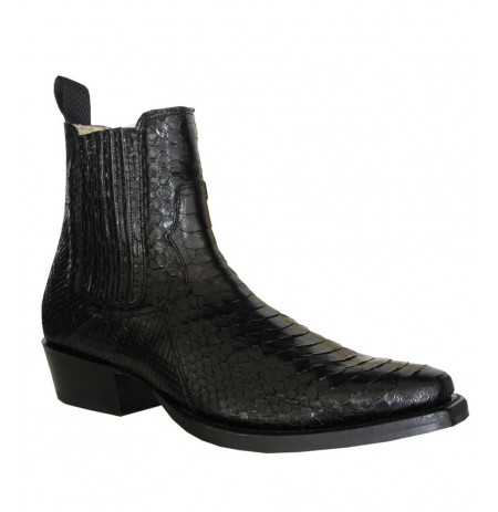 Black real snake cowboy ankle boots