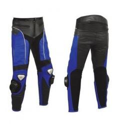 Pantalon moto cuir noir et bleu
