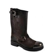 Leather biker boots with padded tips and bridles