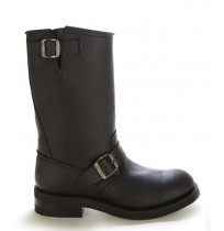 Black leather bike boots with padded tip